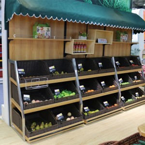 wooden knocked-down supermarket fruit and vegetable display shelf