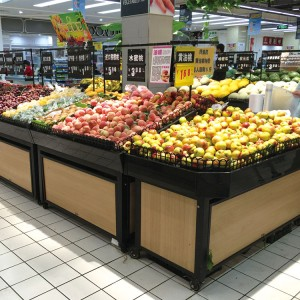 supermarket metallic fruit and vegetable display shelf