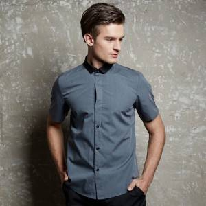 GRAY Polyester Cotton Classic Short Sleeve Slim Fit waiter uniform Shirt CM185D5901H