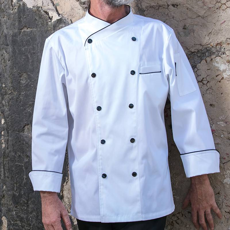 Double Breasted Cross Collar Long Sleeve Chef Uniform And Chef Coat For Culinary School CU102C0201C1 Featured Image
