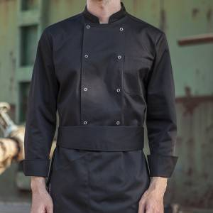 Classic Fashion Double Breasted Long Sleeve Chef Coat And Chef Uniform With Stand Collar For Restaurant And Hotel CU104C0100A1