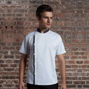 Wholesale Executive Chef Jacket - Classic Single Breasted Match Color Short Sleeve Chef Jacket For Hotel And Restaurant U108D0205A – CHECKEDOUT