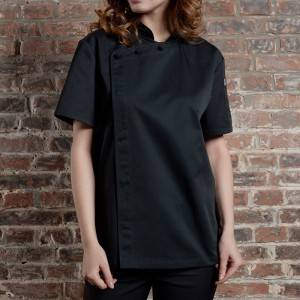 SINGLE BREASTED SHORT SLEEVE HIDDEN PLACKET CROSS COLLAR CHEF COAT FOR HOTEL AND RESTAURANT CU1107D0100A