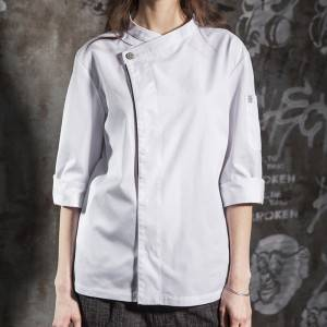 Hidden Placket  Sleeve Wash-Resistant Chef Jacket For Hotel And Restaurant CU110Z0201F