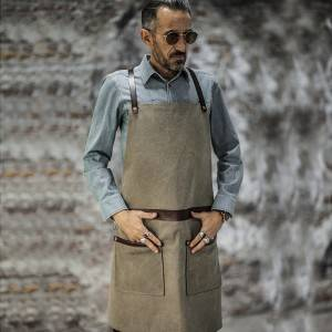 Factory Promotional Urban Chef Aprons - CANVAS LEATHER Anti-wrinkle CROSSBACK CHEF APRON CU355S042011U4 – CHECKEDOUT