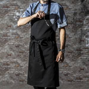 Black Poly Cotton Long Bib Chef Apron With Pockets CU376S0100A