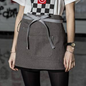 Gray Color Canvas Waist Chef Apron With Pockets CU378S133022U4
