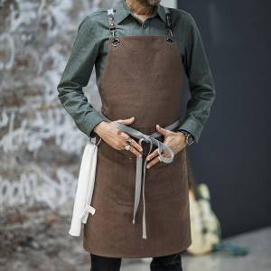 Coffee Color Canvas Crossback Chef Bib Apron CU379S134022U4