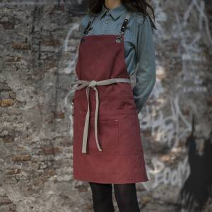Red Canvas Crossback Chef Bib Apron CU379S135022U4