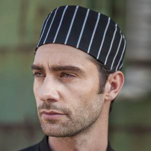 Poly Cotton Black White Strip Flat Top Chef Hat CU405S8600H
