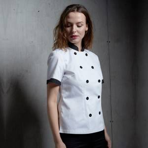 DOUBLE BREASTED SHORT SLEEVE CHEF JACKET FOR HOTEL AND RESTAURANT CW104D0281A