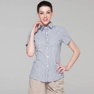 Polyester Cotton Classic Short Sleeve Slim Fit waitress uniform Shirt CW195D8400H