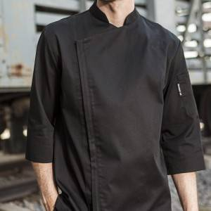 SINGLE BREASTED HIDDEN PLACKET 3/4 SLEEVE CHEF JACKET AND CHEF COAT FOR HOTEL AND RESTAURANT M164Z0100F