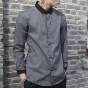 GRAY Polyester Cotton Classic Long Sleeve Slim Fit waiter uniform Shirt CM185C5901H