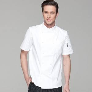 Double Breasted Cross Collar Short Sleeve Chef Uniform And Chef Jacket For Hotel And Restaurant CU102D0200C