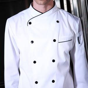Double Breasted Cross Collar Long Sleeve Chef Uniform And Chef Coat For Culinary School CU102C0201C1