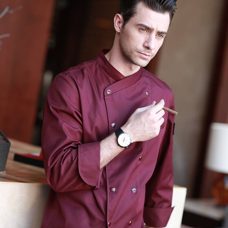 Double Breasted Long Sleeve Cross Collar Chef Jacket For Hotel And Restaurant U157C4700C Featured Image