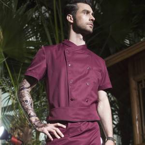 DOUBLE BREASTED CROSS COLLAR SHORT SLEEVE CHEF UNIFORM AND CHEF JACKET FOR HOTEL AND RESTAURANT U157D4700C