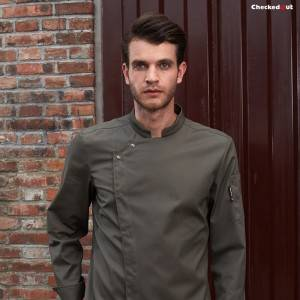 High Quality Polyester Hospitality Uniform - Stand Collar Long Sleeve Hidden Placket Chef Jacket For Hotel And Restaurant U166C3700C – CHECKEDOUT