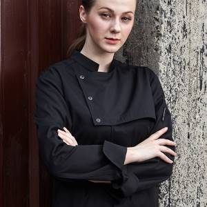 Stand Collar Long Sleeve Hidden Placket Chef Jacket For Hotel And Restaurant U187C0101C