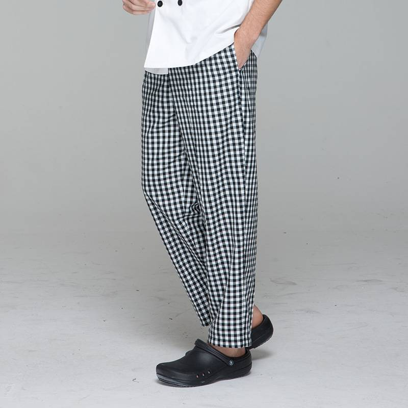 Unisex black white grid chef pants for kitchen work U202C8300H Featured Image