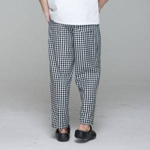 Unisex black white grid chef pants for kitchen work U202C8300H
