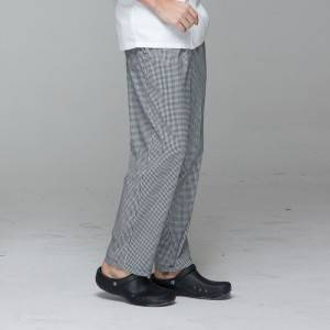 Unisex black white grid chef pants for kitchen work U202C8500H