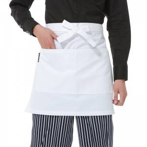 White Poly Cotton Waiter Short Waist Apron With Pockets U301S0200A