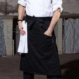 Black Poly Cotton Waiter Long Waist Apron With One Pocket And Towel Loop U302S0100A-1