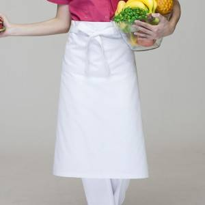 8 Year Exporter Chef Aprons With Pockets - White Poly Cotton Waiter Long Waist Apron U302S0200A – CHECKEDOUT