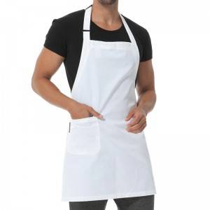 WHITE BASIC POLY COTTON BIB CHEF APRON WITH ONE POCKET U304S0200A
