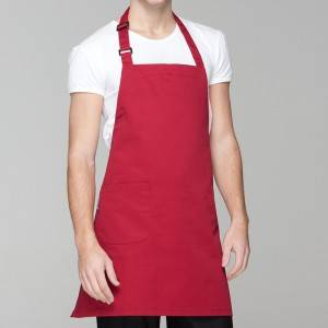 WINE RED BASIC POLY COTTON BIB CHEF APRON WITH ONE POCKET U304S0400A