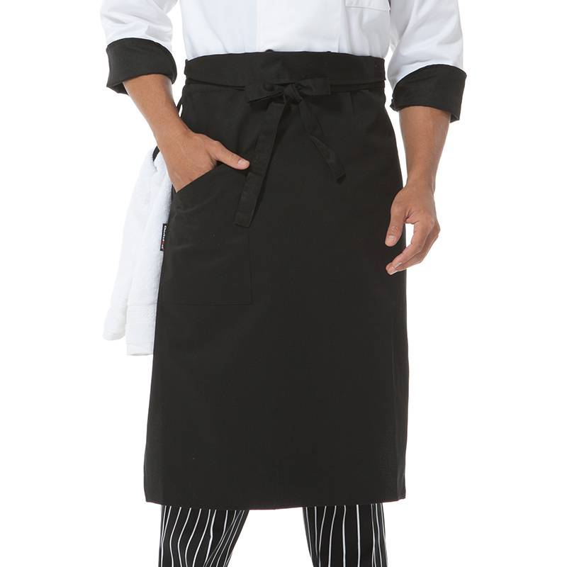 Black Poly Cotton Waiter Long Waist Apron With One Pocket U306S0100A Featured Image