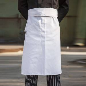 White Poly Cotton Waiter Long Waist Apron With One Pocket U306S0200A