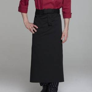Black Poly Cotton Waiter Long Waist Apron U316S0100A