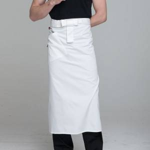 White Poly Cotton Waiter Long Waist Apron U316S0200A