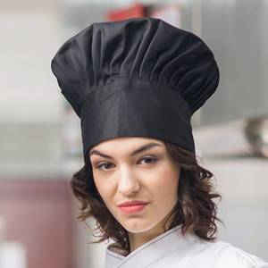 Pleated Chef Hat Poly Cotton Black Chef Hat U402S0100A
