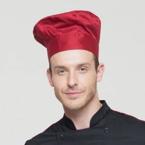 Pleated Chef Hat Poly Cotton Wine Red Color Chef Hat U404S0400A
