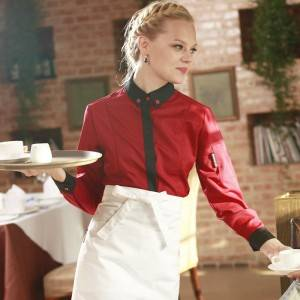WINE RED Polyester Cotton Classic Long Sleeve Slim Fit waitress uniform Shirt CW167C0401E