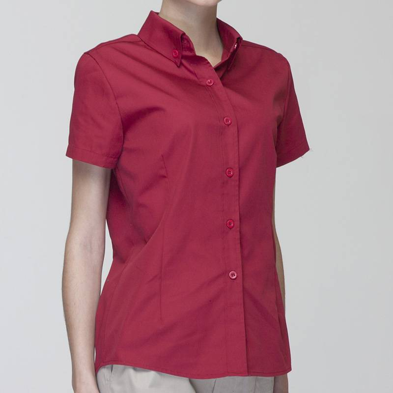 WINE RED Polyester Cotton Classic Short Sleeve Slim Fit waitress uniform Shirt  CW181D0400E Featured Image