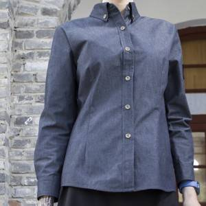Polyester Cotton Classic Long Sleeve Slim Fit waitress uniform Shirt CW197C4100T2