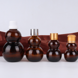 10ml empty amber calabash shape aluminium fancy small essential oil glass bottle with dropper