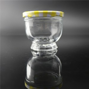 linlang new design crystal white glass jar for caviar
