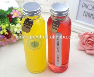 350ml 12oz food grade disposable clear glass packaging empty Orange juice beverage round glass bottle with cap