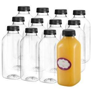 Beverage industrial use 250ml 330ml 500ml French square cold pressed juice glass bottle
