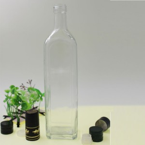 Carve Olive Transparent Square Oil Glass Bottle Container