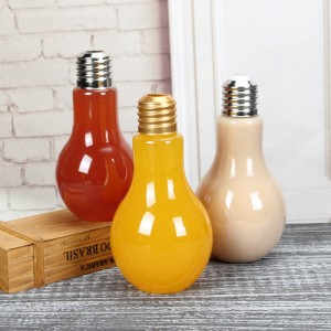 China Golden Screw Cap Light Bulb Shape Juice glass Bottle