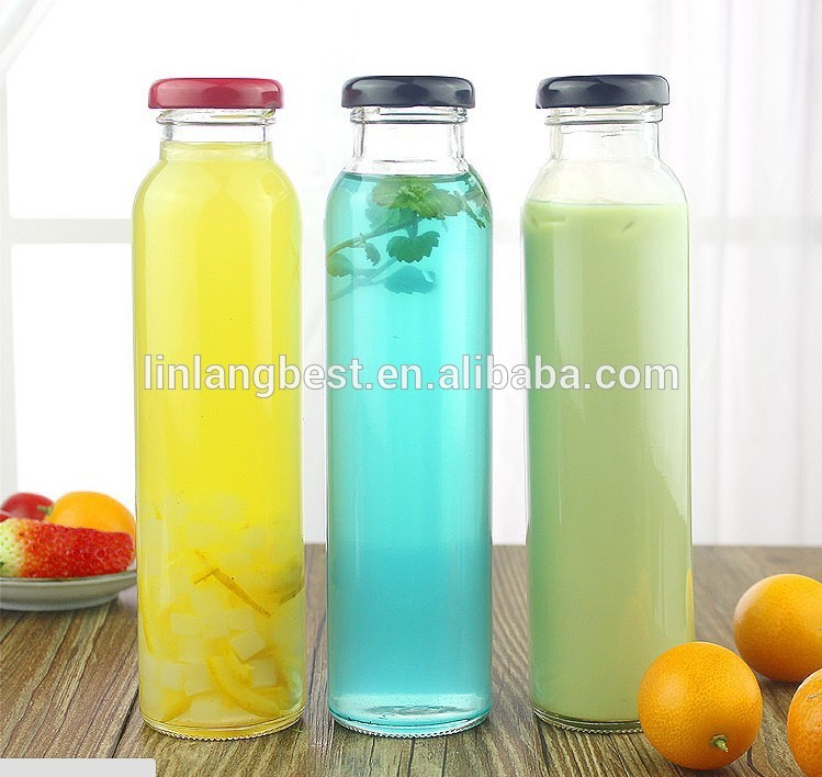 Custom Made Cylindrical Cold Brews juice Tea Drinking Glass Bottle With Black Lid Featured Image