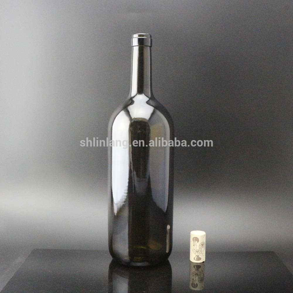 Shanghai Linlang wholesale 1500ml big wine bordeaux dark green glass bottle