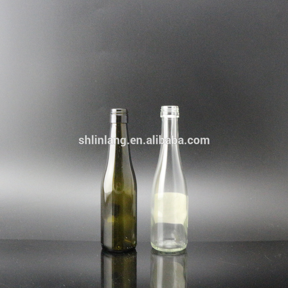 Shanghai Linlang wholesale 100ml clear and dark green mini glass wine bottle